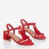 Червоні босоніжки на низькій пості з бахромою Torri - Взуття 1