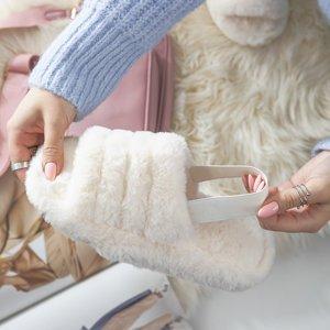 Білі жіночі тапочки з хутром Fornax - Взуття