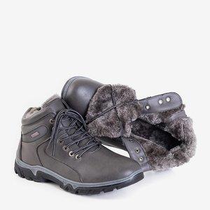 Чоловічі утеплені трекінгові черевики темно-сірого кольору Hurad - взуття